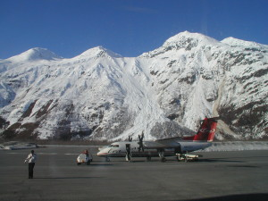 Snow Cap and Jet in Port Valdez